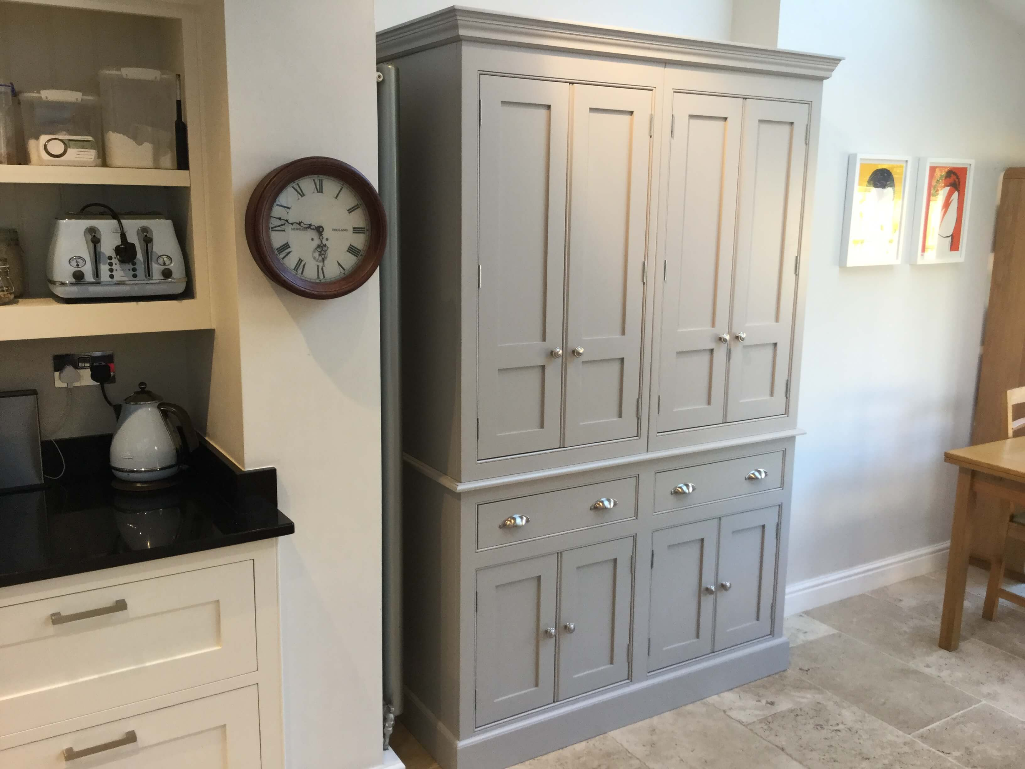 Larder, Bespoke Larder, Elegant Bespoke Living, Farrow & Ball paint, Leamington Spa, Kitchen Larder, Joinery, Carpentry, Kitchen furniture