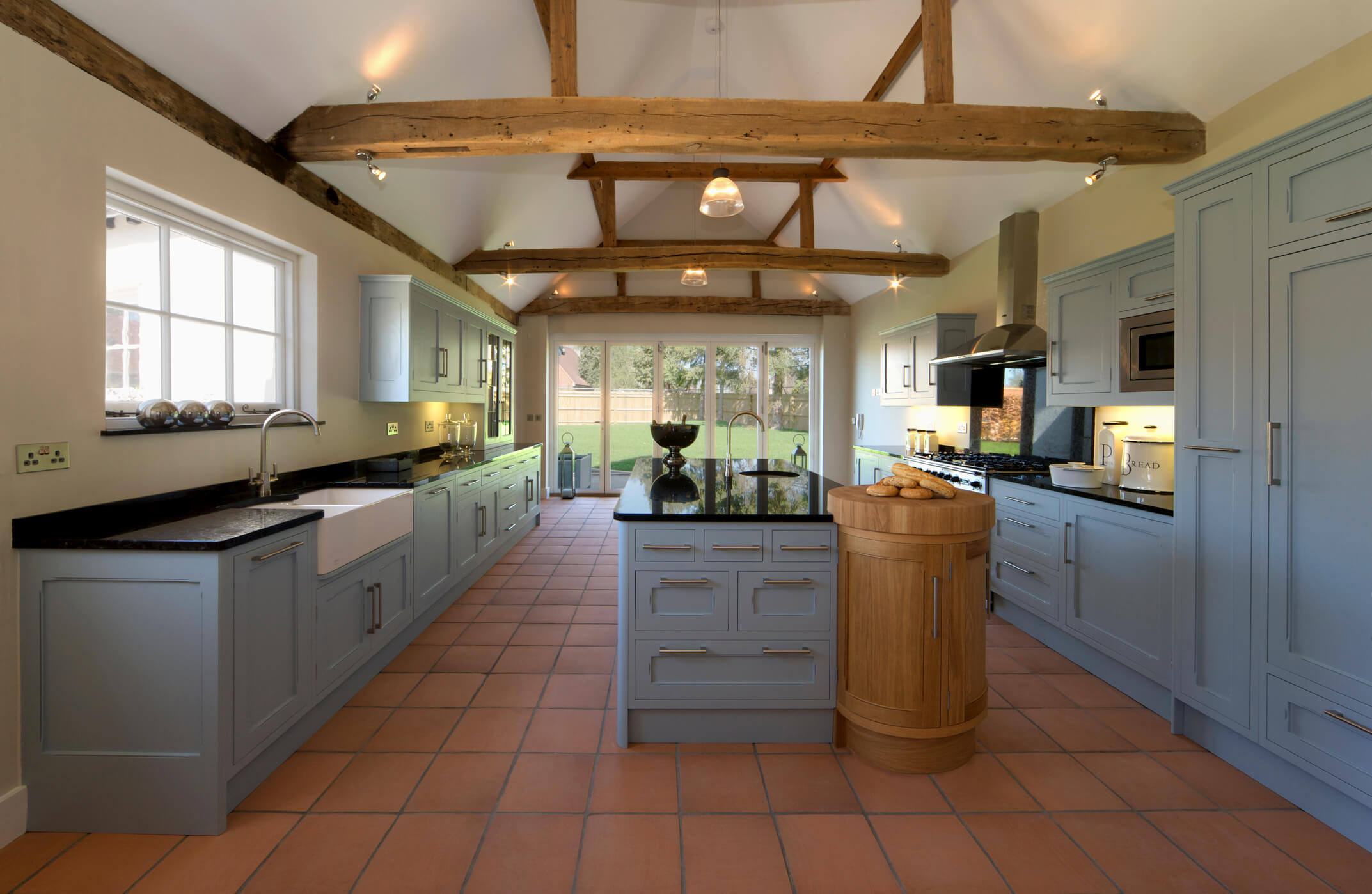 Farmhouse Kitchen, Bespoke Kitchen, Elegant Bespoke Living, Shaker Kitchen, Granite work surface